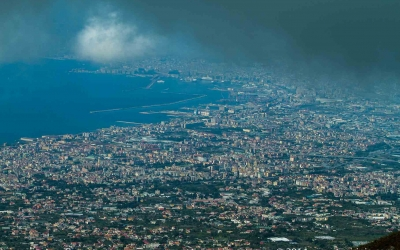 The view of the Naples Bay from Vesuvius