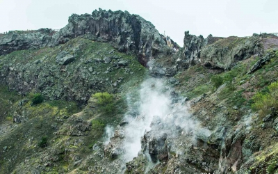 steam is still visible from Vesuvius